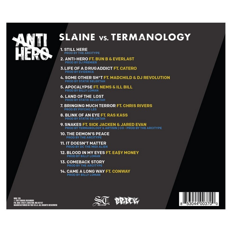 Slaine vs. Termanology - Anti Hero album cover back