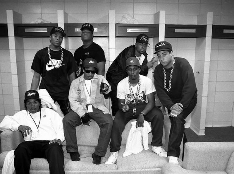 NWA posse - Ice Cube, Dr. Dre, Eazy E, Laylaw, MC Ren, The D.O.C., DJ Yella